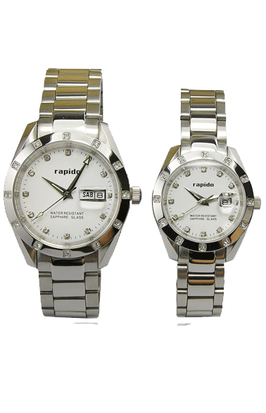 rapido深圳手表工厂 全钢表 对表真钻情侣手表 高端商务手表